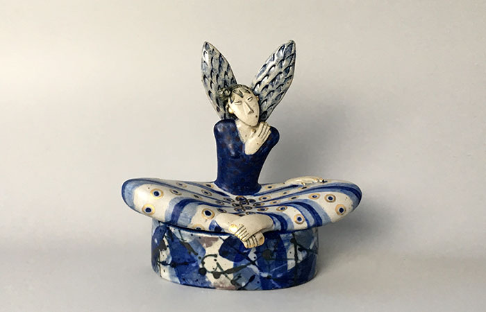 Happy seated angel | Helen Martino Pottery | Cambridge Potter